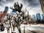stainless steel moose sculpture hdr