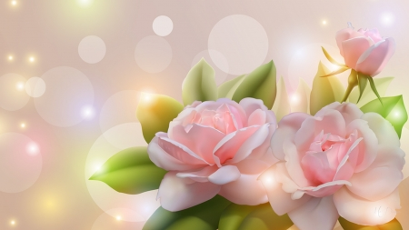 Soft Pink Roses Flowers Nature Background Wallpapers On Desktop