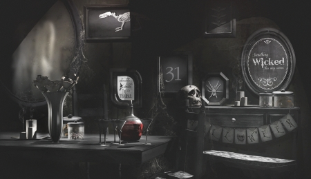 Witch's Room - banner, skeleton, vanity table, bats, mirrors, black and white, glasses, vase, broom, quotes, chairs, witchs hat, Halloween, room, decanter, table, webs, bugs, bench, roses, spider webs, potion, witchs room, hat, candles, pictures, skull, jars