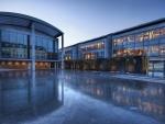 frozen museum courtyard
