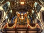 olde ornate pipe organ in church hdr