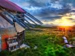old farmhouse at sunrise hdr