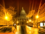the pantheon on a rainy night