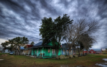 small town in texas hdr - grass, town, hdr, rural colorful, overcast