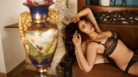 Boudoir, Couch & the resting beauty - Pretty, Female, Model, beautiful, boudoir, seductive, statue, Woman, flower vase, Celebrity, Indian, rest, Sexy, lingerie, breast, Couch, Actress, Lady, Beauty, sexy girl