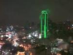 city of dallas texas at night in rain