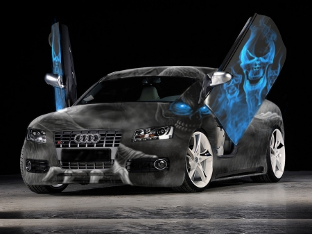 october audi - cars, skulls, halloween, black and white, skull faces, audi