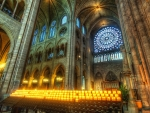 votive candles in majestic church hdr