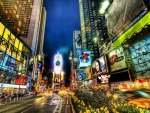 times square in long exposure hdr