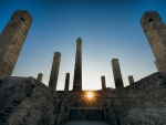 ancient ruins in sicily at sunset