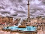 fountain in trafalgar square london hdr