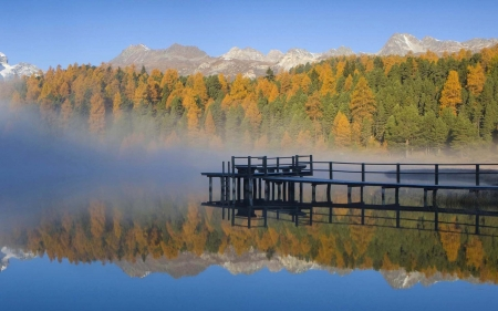 Austrian Alps, Hohe Tauern - pier, colors, water, trees, autumn, reflections