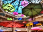 umbrellas at the shoppes at the palazzo in vegas hdr