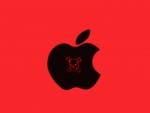 black & red apple skull