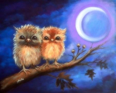 Owl Protect You - owls, holiday, paintings, animals, autumn, crescent moon, moons, love four seasons, fall season, halloween