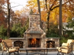 outdoor fireplace in autumn