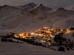 mountain ski resort village at night