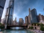 wabash avenue over the chicago river hdr