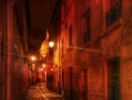 dark cobblestone alley at night hdr