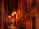 dark cobblestone alley at night hdr
