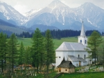 white church in an alpine valley