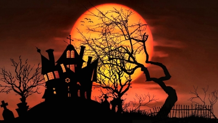 Midnight Halloween F1 - art, holiday, haunted house, beautiful, illustration, artwork, October, painting, wide screen, occasion, Halloween