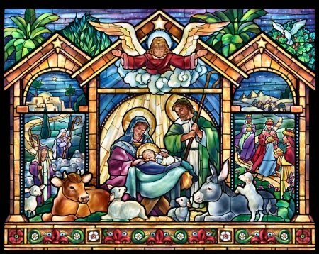 Stained Glass Nativity F2mp - Christmas, art, Nativity, holiday, stained glass, December, beautiful, illustration, artwork, winter, snow, painting, wide screen, occasion, scenery