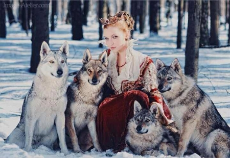 WOLF LADY - Lady, snow, nature, Wolf, animals, Wolves