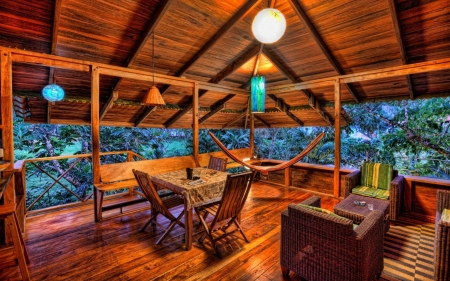 lovely wooden terrace in the tropics hdr - house, roof, chairs, hdr, tropics, wood, terrace