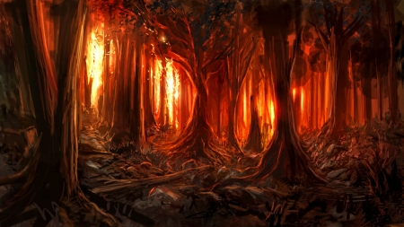 Heart Of Fire Fantasy Abstract Background Wallpapers On