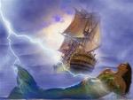 boat,woman,sea,sky,