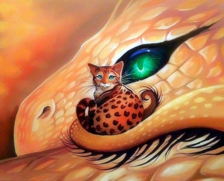 Spotted Treasure - fantasy, paintings, fantasy dragon, love four seasons, dragon, cats