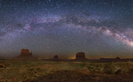 The Milky Way Over Monument Valley - stars, cool, desert, space, nature, fun