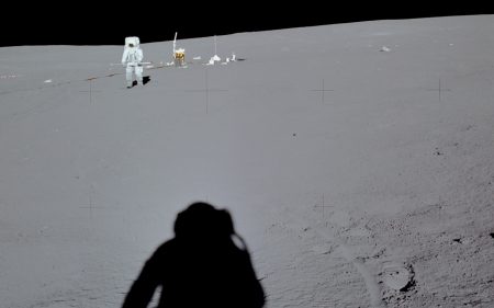 Astronauts - moon, astronaut, shadow, space