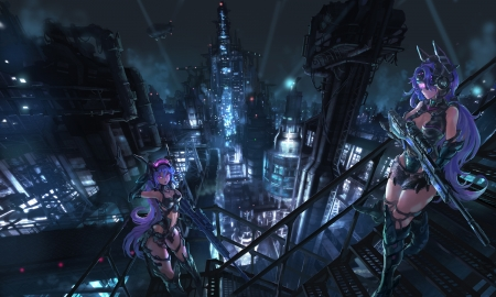 City - weapons, city, mecha, anime, girls
