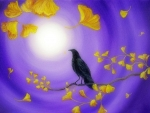 Crow in Ginkgo Leaves