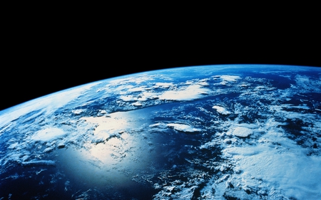 Earth views - horizon, world, colorful, color, space, space art, continents, universe, overview, clouds, earth, planet, hubble