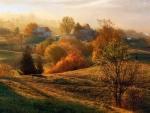 farm on a foggy fall morning