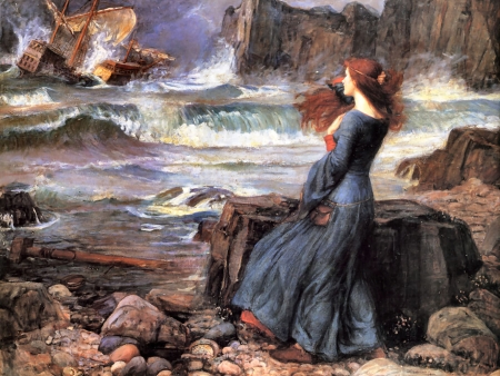Miranda - The Tempest F1C - architecture, John Waterhouse, art, old master, beautiful, artwork, Waterhouse, painting, wide screen, seascape, scenery, oldmaster