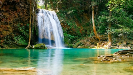 Beautiful Waterfall - forest, turquoise, lakes, water, waterfall, nature, beautiful