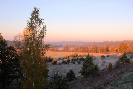 Abava valley by sunrise. - nature, fields, aurumn, sunsets