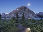 moon over bow lake canada