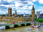 aerial view of big ben and westminster by the thames hdr
