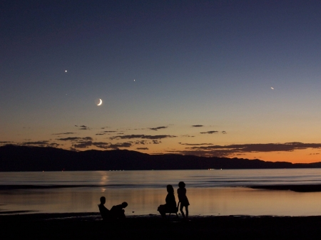 A Quadruple Sky Over Great Salt Lake - stars, moon, cool, space, fun