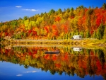 Reflections of colorful autumn forest
