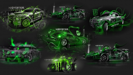 Monster Energy - cars, monster, green, energy