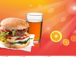 hamburger with iced tea