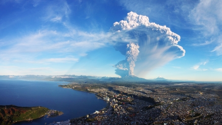 calbuco volcano eruption in chile - city, mountains, eruption, volcano, lake, panorama