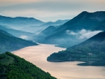 mist morning on kardzhali reservoir in bulgaria