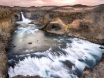 wonderful aldeyjarfoss falls in iceland